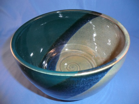 Emerald and float blue bowl
